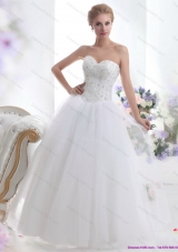 2015 Top Selling Sweetheart A Line Wedding Dress with Beading