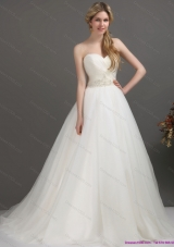 2015 Top Selling Sweetheart Wedding Dress with Beading and Ruching