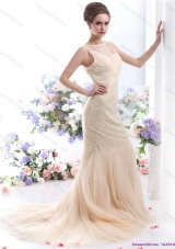 Top Selling 2015 Beteau Champagne Wedding Dress with Sequins