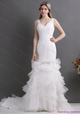 Top Selling V Neck 2015 Wedding Dress with Ruching and Ruffles