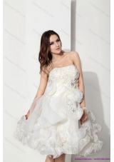 Top Selling White Strapless Ruffled Short Bridal Dresses with Hand Made Flower