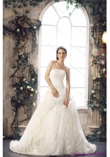 Top Selling White Strapless Wedding Dresses with Chapel Train and Beading