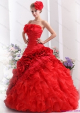 2015 Romantic Strapless Dresses for a Quinceanera with Hand Made Flowers