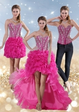 2015 Hot Pink Sweetheart Detachable Prom Dresses with Beading and Ruffled Layers