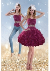 2015 Beading and Ruffles Detachable Prom Skirts in Wine Red