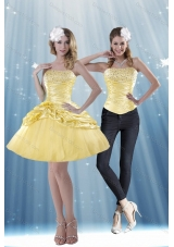 2015 Strapless Beading and Pick Ups Detachable Prom Skirts in Yellow