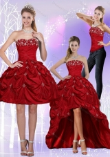 2015 Strapless Wine Red Detachable Prom Skirts with Embroidery