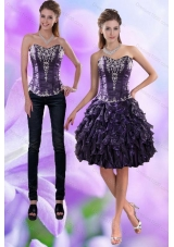 Sweetheart Dark Purple 2015 Detachable Prom Skirts with Appliques and Ruffles