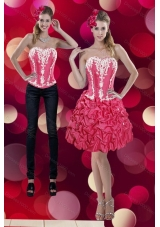 2015 Embroidery and Pick Ups Sweetheart Detachable Prom Skirts in Coral Red