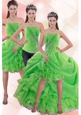 Strapless Spring Green Detachable Prom Skirts with Appliques and Ruffles