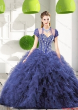 Most Popular Navy Blue Quinceanera Gown with Beading and Ruffles for 2015