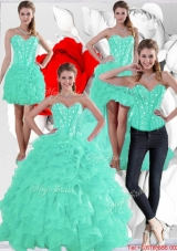 2016 Summer Pretty Ruffles and Beaded Quinceanera Dresses in Apple Green