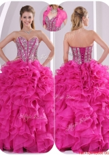 Popular Ruffles and Beading Quinceanera Gowns in Fuchsia