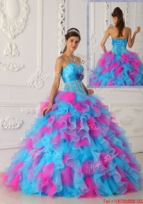 Designer Multi Color Floor Length Appliques Quinceanera Dresses