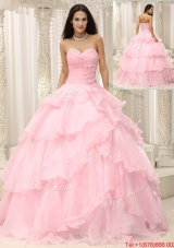 Beautiful Baby Pink Quinceanera Gowns with Beading and Ruffles