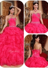 Beautiful Ball Gown Beading Sweet 16 Dresses in Coral Red