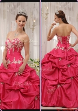 Cheap Sweetheart Appliques Quinceanera Gowns with in Coral Red