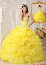 Elegant Ball Gown Strapless Floor Length Quinceanera Dresses