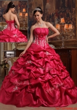 Elegant Coral Red Ball Gown Strapless Quinceanera Dresses