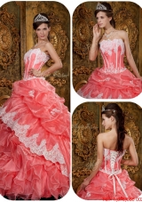 Exclusive Watermelon Quinceanera Gowns with Appliques and Ruffles