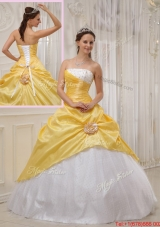 New Style Yellow Ball Gown Strapless Quinceanera Dresses