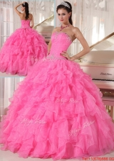 Spring Popular Hot Pink Ball Gown Strapless Quinceanera Dresses