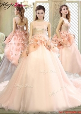 2016 Beautiful Scoop Court Train Quinceanera Dresses with Hand Made Flowers