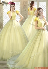 Discount Arrivals Bateau Brush Train Quinceanera Dresses