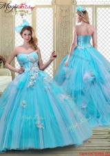 Summer Sweetheart Brush Train Quinceanera Dresses in Baby Blue