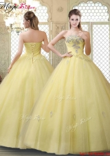 Romantic Strapless Quinceanera Gowns with Appliques and Beading for Fall