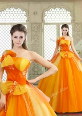 Cheap Appliques and Bowknot Quinceanera Gowns with One Shoulder