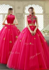 Exclusive High Neck Quinceanera Gowns in Coral Red