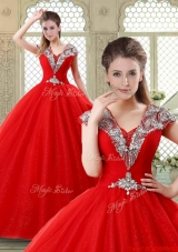 Exquisite Ball Gown Beading Sweet 16 Dresses with V Neck