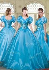 Gorgeous Appliques and Beading Sweet 16 Dresses with V Neck
