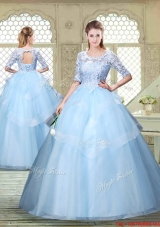 Hot Sale Half Sleeves Scoop Quinceanera Dresses with Lace