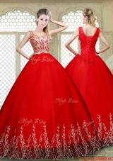 New Style Scoop Lace Up Quinceanera Gowns with Appliques