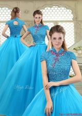 Fashionable High Neck Quinceanera Gowns in Baby Blue