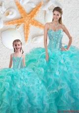 2015 Winter Beautiful Aqua Blue Macthing Sister Dresses with Beading and Ruffles