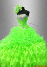 Best Selling Strapless Quinceanera Gowns in Spring Green