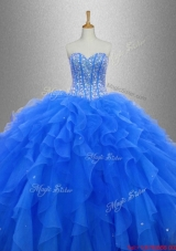 Discount Beaded and Ruffles 2016 Sweet 16 Gowns in Blue