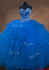 Discount Sweetheart Beaded Blue Quinceanera Dresses with Ruffles