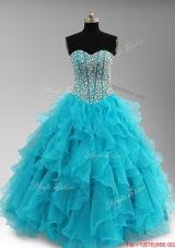 Elegant Beaded and Ruffles Quinceanera Dresses in Aqua Blue