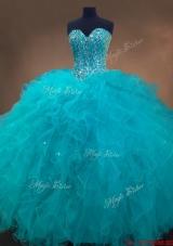 Elegant Beaded and Ruffles Quinceanera Gowns in Aqua Blue