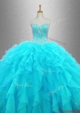 Elegant Beaded Sweetheart Quinceanera Gowns in Aqua Blue