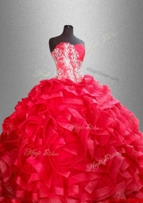 Fashionable Red Quinceanera Dresses with Beading and Ruffles