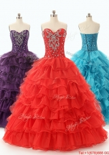 In Stock 2016 Ball Gown Sweet 16 Dresses with Ruffled Layers