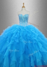 Latest Beaded Organza Quinceanera Dresses with Ruffles