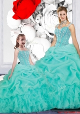 New Style Ball Gown Straps Macthing Sister Dresses in Turquoise