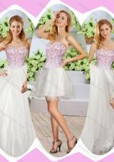 2016 Wonderful High Slit Beading Detachable Sweet 16 Dresses in White