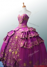Beautiful Sweetheart Ball Gown Fuchsia Quinceanera Dresses with Appliques